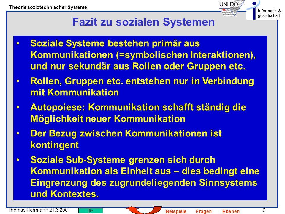 9 Thomas Herrmann 21.6.2001 Theorie soziotechnischer Systeme informatik & gesellschaft BeispieleFragenEbenen Wodurch koordinieren sich autonome soziale (Sub-)Systeme I Durch ein Modell ihrer Kooperation (TH) Fallbeispiel: Eine Projektgruppe hat die Anforderungsdefinition für die Entwicklung eines bestimmten Systems abgeschlossen.