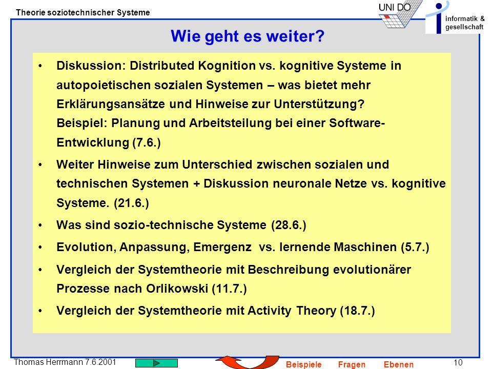 10 Thomas Herrmann 7.6.2001 Theorie soziotechnischer Systeme informatik & gesellschaft BeispieleFragenEbenen Diskussion: Distributed Kognition vs.