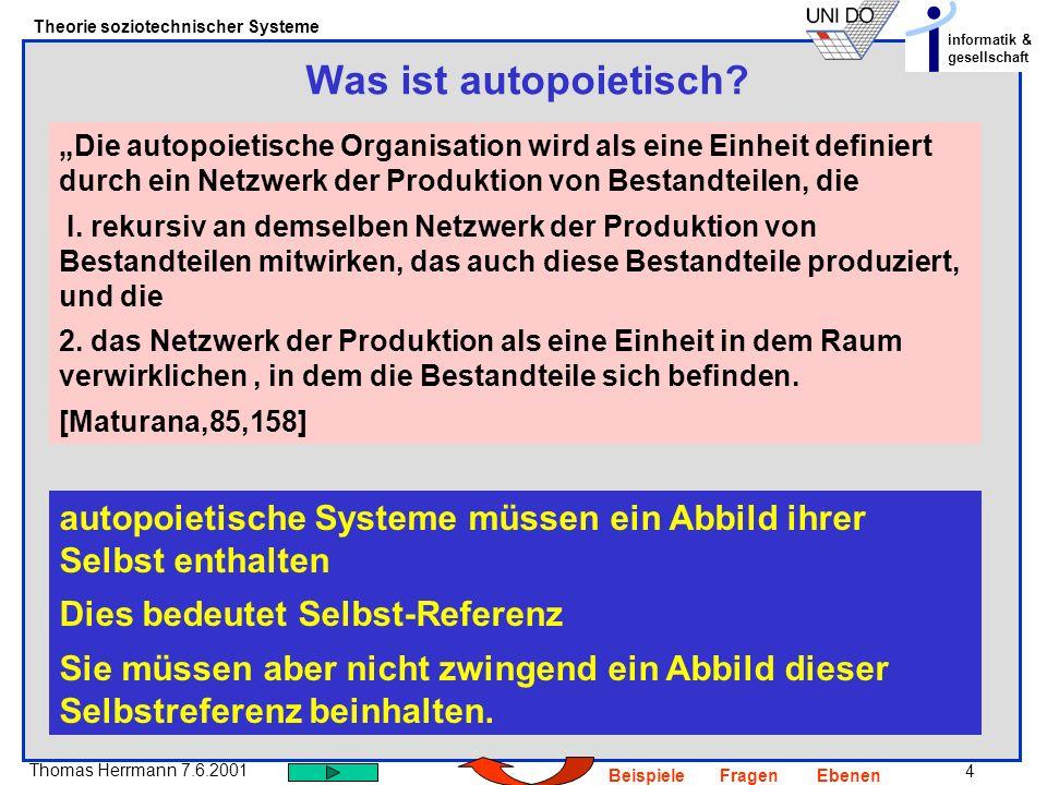 15 Thomas Herrmann 7.6.2001 Theorie soziotechnischer Systeme informatik & gesellschaft BeispieleFragenEbenen D.J.Krieger96 Einführung in die allgemeine Systemtheorie.