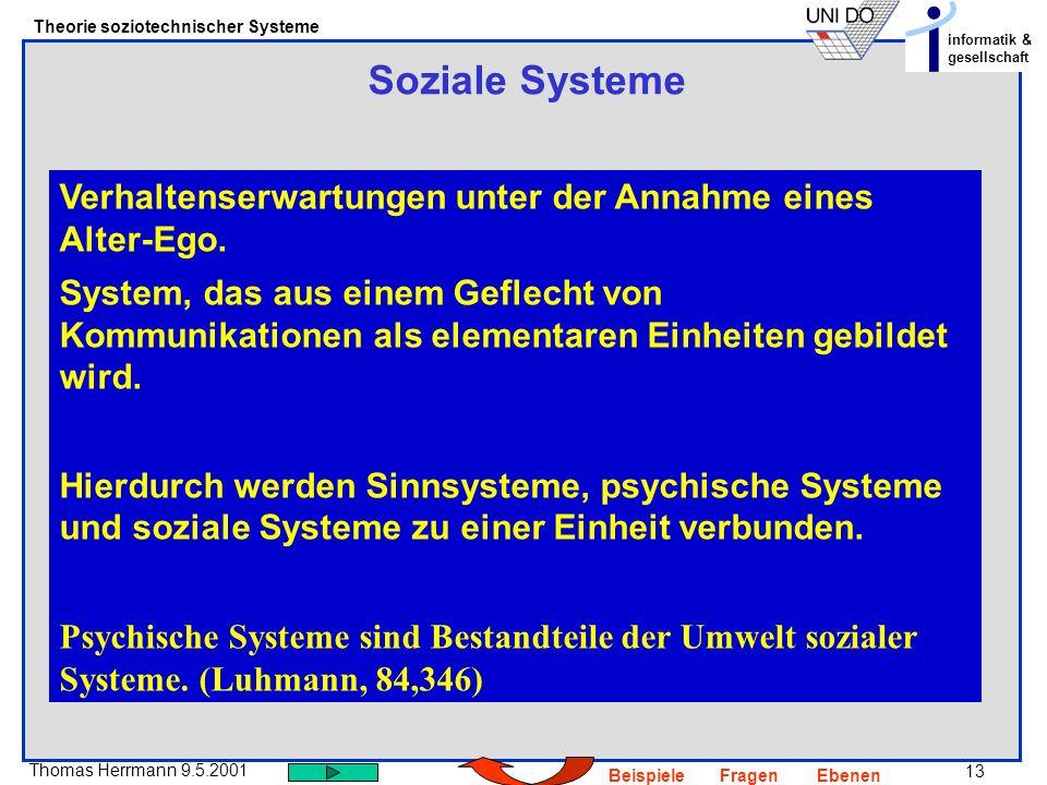 13 Thomas Herrmann 9.5.2001 Theorie soziotechnischer Systeme informatik & gesellschaft BeispieleFragenEbenen Soziale Systeme Verhaltenserwartungen unter der Annahme eines Alter-Ego.