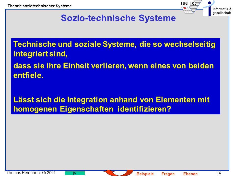 14 Thomas Herrmann 9.5.2001 Theorie soziotechnischer Systeme informatik & gesellschaft BeispieleFragenEbenen Sozio-technische Systeme Technische und soziale Systeme, die so wechselseitig integriert sind, dass sie ihre Einheit verlieren, wenn eines von beiden entfiele.