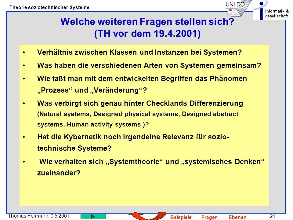 21 Thomas Herrmann 9.5.2001 Theorie soziotechnischer Systeme informatik & gesellschaft BeispieleFragenEbenen Verhältnis zwischen Klassen und Instanzen bei Systemen.