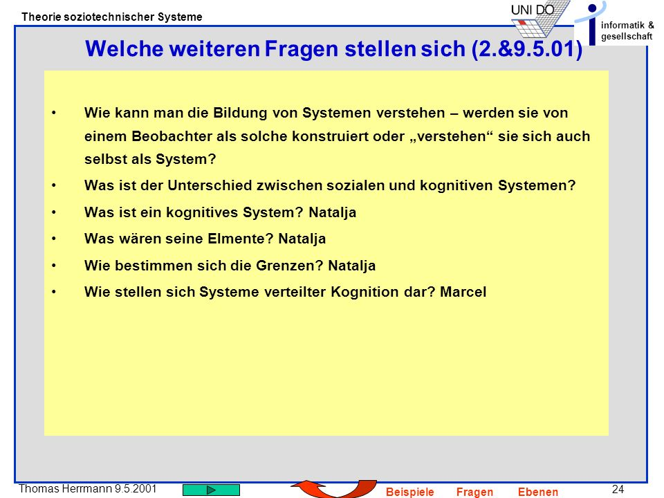 24 Thomas Herrmann 9.5.2001 Theorie soziotechnischer Systeme informatik & gesellschaft BeispieleFragenEbenen Wie kann man die Bildung von Systemen verstehen – werden sie von einem Beobachter als solche konstruiert oder verstehen sie sich auch selbst als System.
