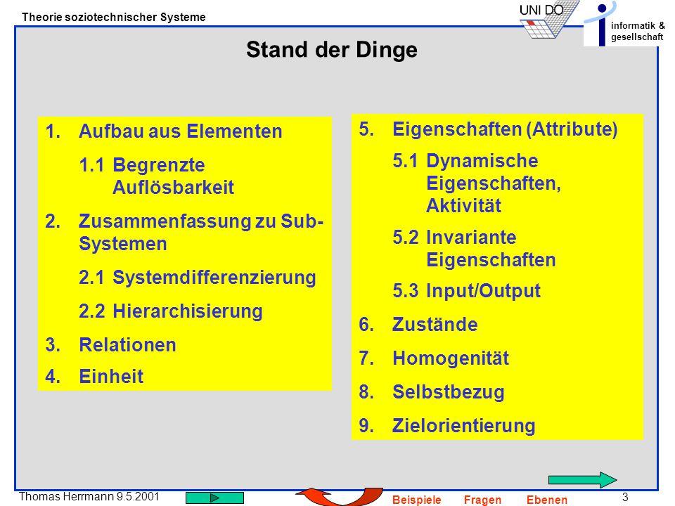 3 Thomas Herrmann 9.5.2001 Theorie soziotechnischer Systeme informatik & gesellschaft BeispieleFragenEbenen Stand der Dinge 5.Eigenschaften (Attribute