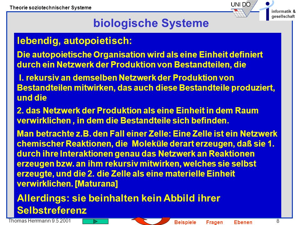 8 Thomas Herrmann 9.5.2001 Theorie soziotechnischer Systeme informatik & gesellschaft BeispieleFragenEbenen biologische Systeme lebendig, autopoietisch: Die autopoietische Organisation wird als eine Einheit definiert durch ein Netzwerk der Produktion von Bestandteilen, die I.