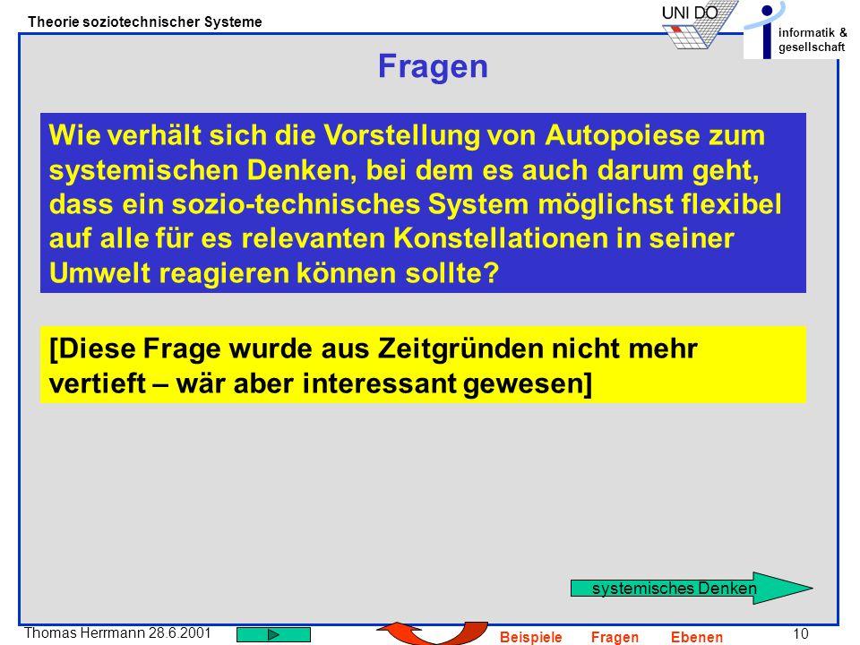 10 Thomas Herrmann 28.6.2001 Theorie soziotechnischer Systeme informatik & gesellschaft BeispieleFragenEbenen Fragen Wie verhält sich die Vorstellung