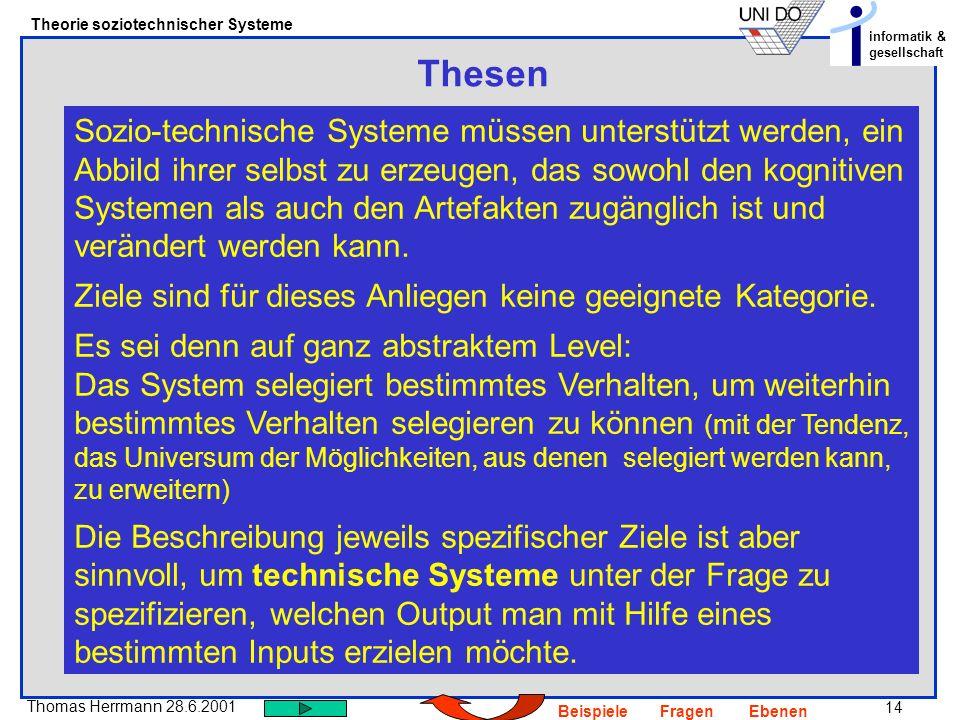 14 Thomas Herrmann 28.6.2001 Theorie soziotechnischer Systeme informatik & gesellschaft BeispieleFragenEbenen Thesen Sozio-technische Systeme müssen u