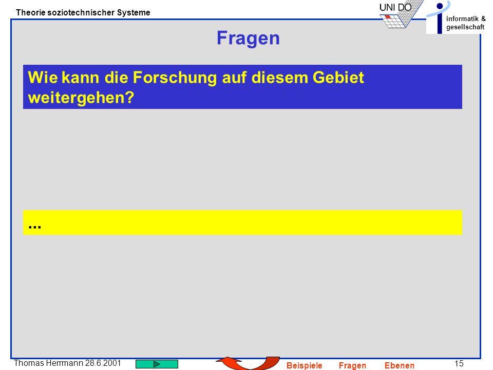 15 Thomas Herrmann 28.6.2001 Theorie soziotechnischer Systeme informatik & gesellschaft BeispieleFragenEbenen Fragen Wie kann die Forschung auf diesem