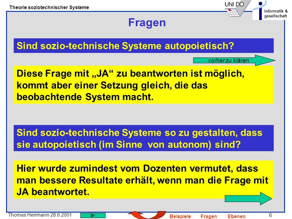 6 Thomas Herrmann 28.6.2001 Theorie soziotechnischer Systeme informatik & gesellschaft BeispieleFragenEbenen Fragen Sind sozio-technische Systeme auto
