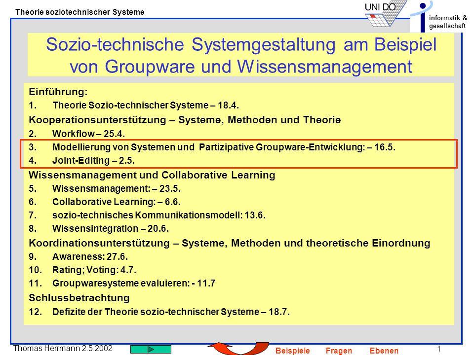 1 Thomas Herrmann 2.5.2002 Theorie soziotechnischer Systeme informatik & gesellschaft BeispieleFragenEbenen Sozio-technische Systemgestaltung am Beisp