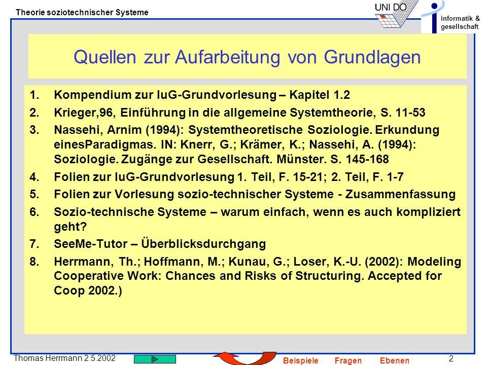 2 Thomas Herrmann 2.5.2002 Theorie soziotechnischer Systeme informatik & gesellschaft BeispieleFragenEbenen Quellen zur Aufarbeitung von Grundlagen 1.