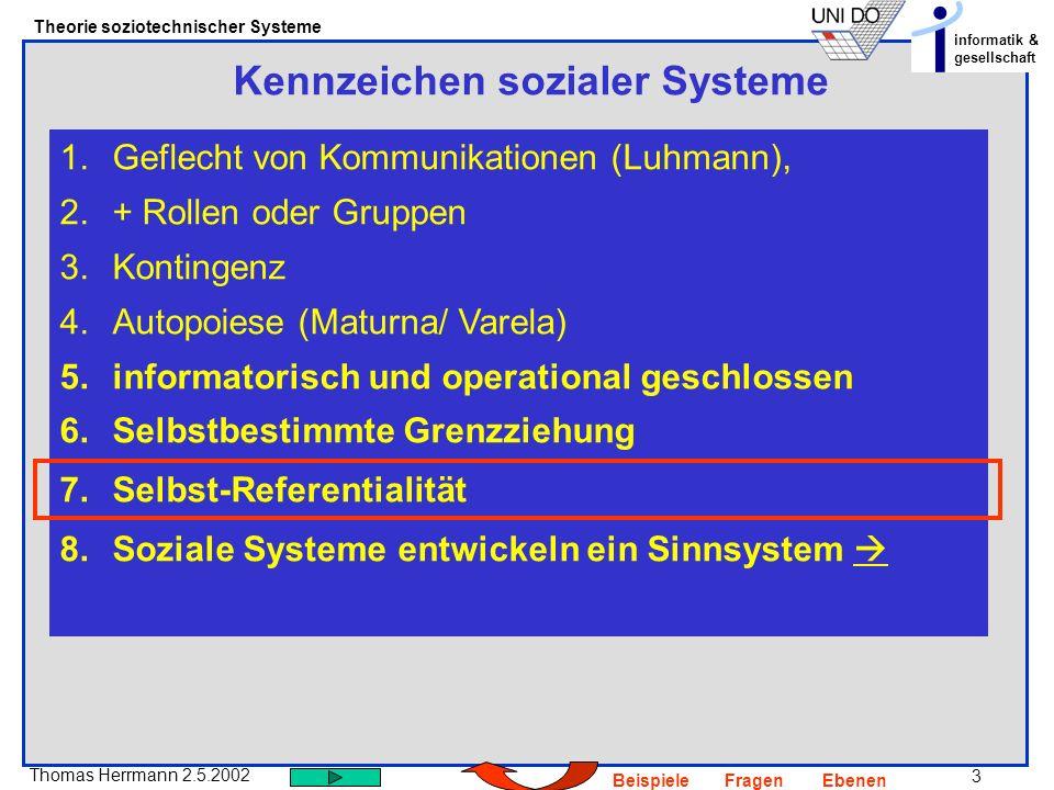 3 Thomas Herrmann 2.5.2002 Theorie soziotechnischer Systeme informatik & gesellschaft BeispieleFragenEbenen Kennzeichen sozialer Systeme 1.Geflecht von Kommunikationen (Luhmann), 2.+ Rollen oder Gruppen 3.Kontingenz 4.Autopoiese (Maturna/ Varela) 5.informatorisch und operational geschlossen 6.Selbstbestimmte Grenzziehung 7.Selbst-Referentialität 8.Soziale Systeme entwickeln ein Sinnsystem
