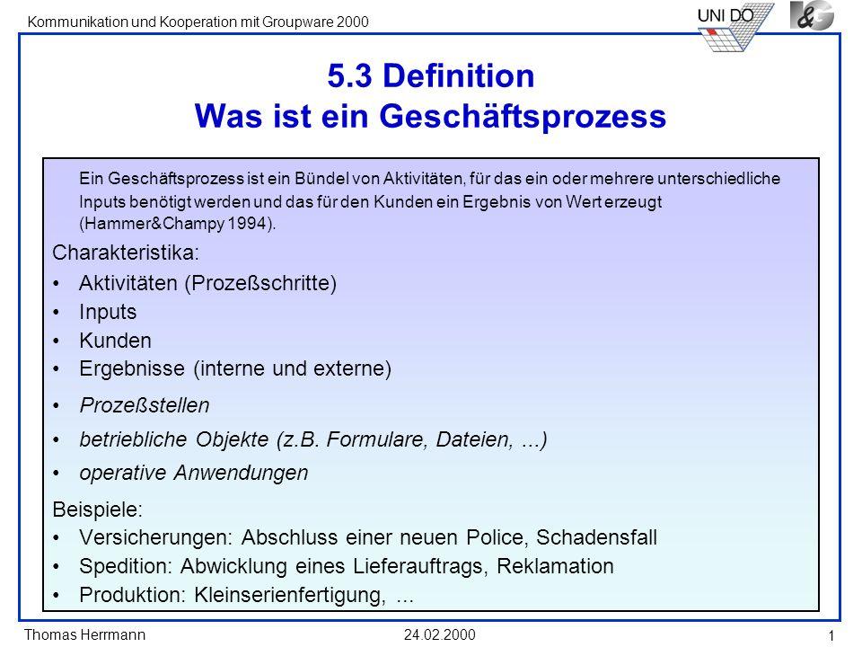 Thomas Herrmann Kommunikation und Kooperation mit Groupware 2000 24.02.2000 12 3.