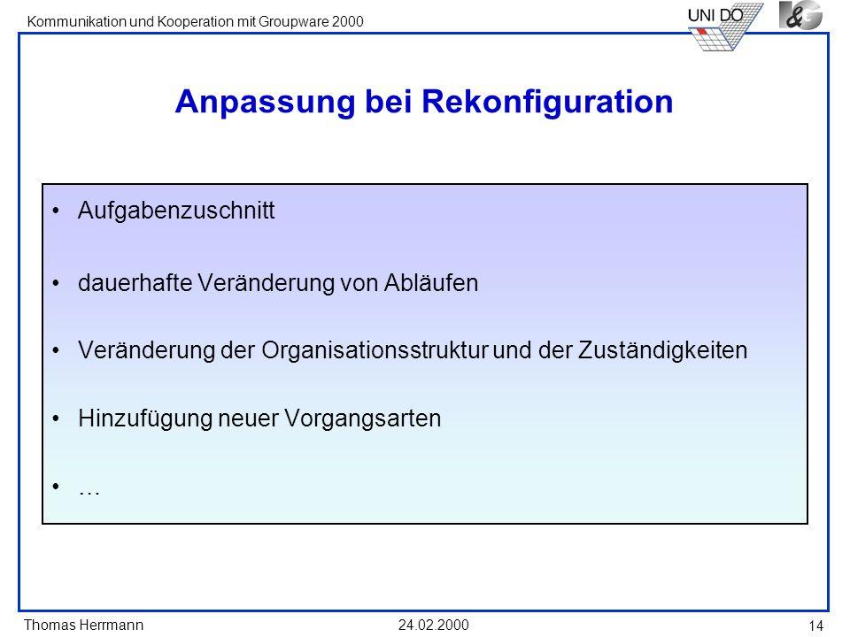 Thomas Herrmann Kommunikation und Kooperation mit Groupware 2000 24.02.2000 14 Anpassung bei Rekonfiguration Aufgabenzuschnitt dauerhafte Veränderung