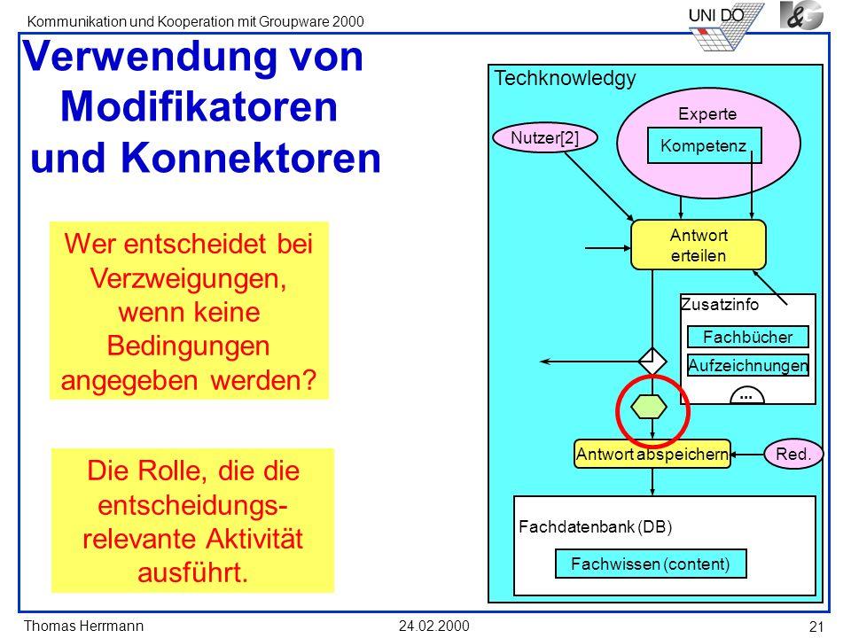 Thomas Herrmann Kommunikation und Kooperation mit Groupware 2000 24.02.2000 21 Verwendung von Modifikatoren und Konnektoren Wer entscheidet bei Verzwe