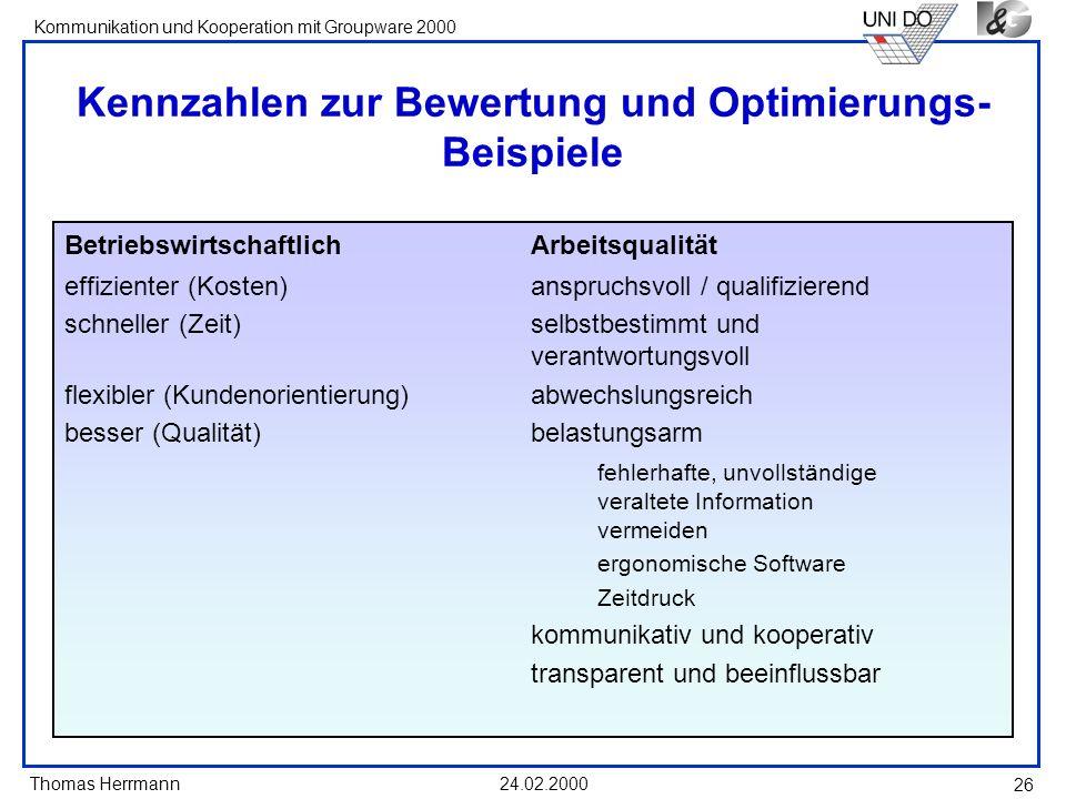 Thomas Herrmann Kommunikation und Kooperation mit Groupware 2000 24.02.2000 26 Kennzahlen zur Bewertung und Optimierungs- Beispiele Betriebswirtschaft