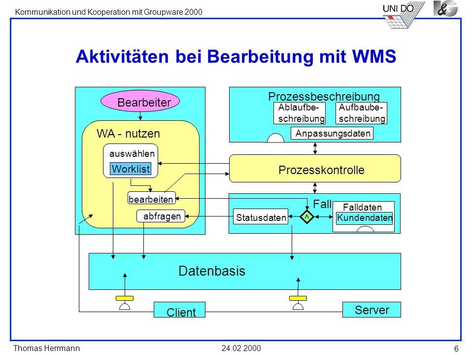 Thomas Herrmann Kommunikation und Kooperation mit Groupware 2000 24.02.2000 17 TechKnowledgy - ein sozio-technisches System Techknowledgy Fachdatenbank (DB) Fachwissen (content) mittels Fach-DB beantwortbar.