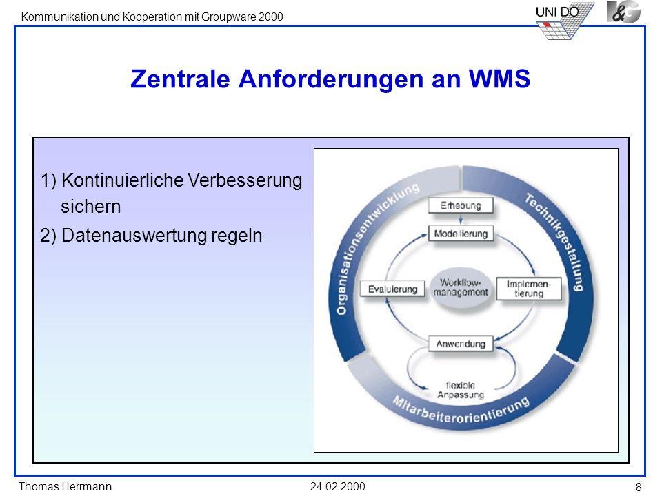 Thomas Herrmann Kommunikation und Kooperation mit Groupware 2000 24.02.2000 8 Zentrale Anforderungen an WMS 1) Kontinuierliche Verbesserung sichern 2)