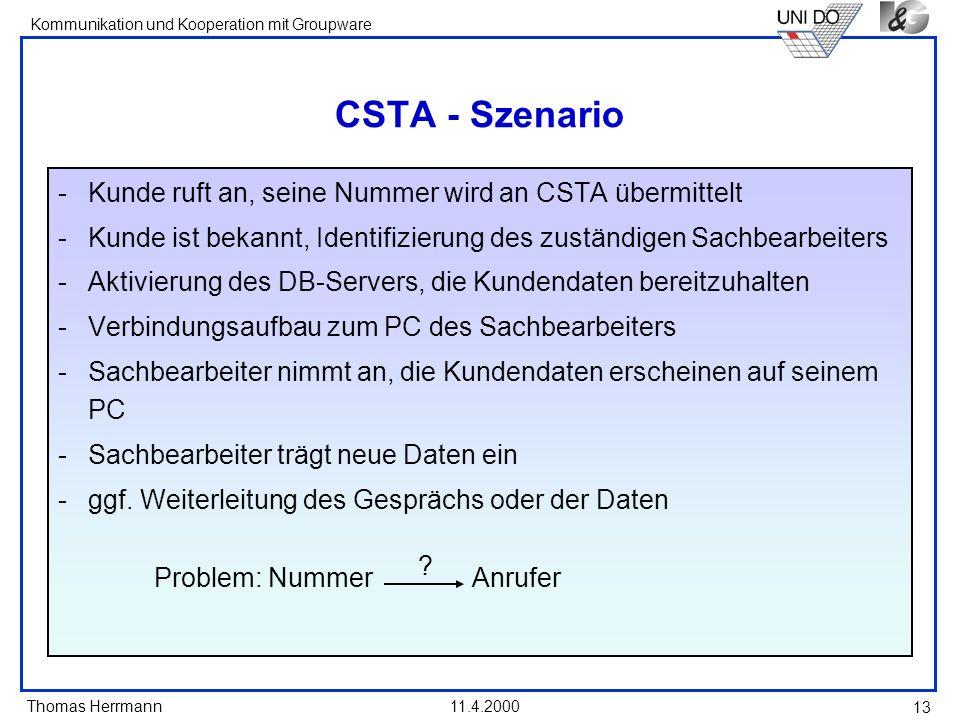 Thomas Herrmann Kommunikation und Kooperation mit Groupware 11.4.2000 13 CSTA - Szenario -Kunde ruft an, seine Nummer wird an CSTA übermittelt -Kunde