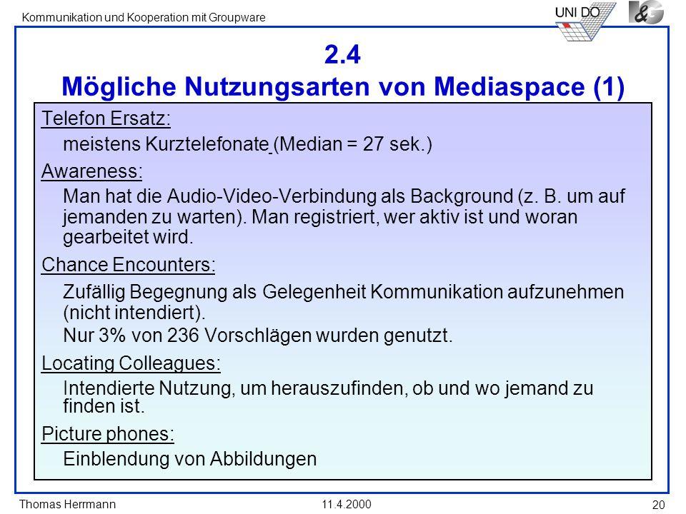 Thomas Herrmann Kommunikation und Kooperation mit Groupware 11.4.2000 20 2.4 Mögliche Nutzungsarten von Mediaspace (1) Telefon Ersatz: meistens Kurzte