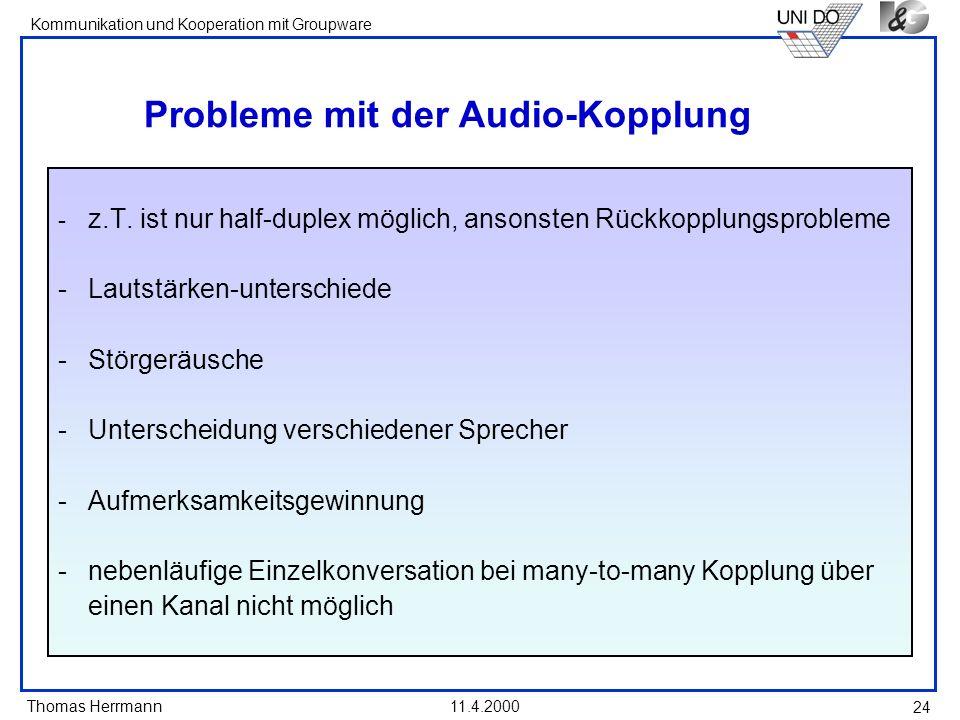 Thomas Herrmann Kommunikation und Kooperation mit Groupware 11.4.2000 24 Probleme mit der Audio-Kopplung - z.T. ist nur half-duplex möglich, ansonsten