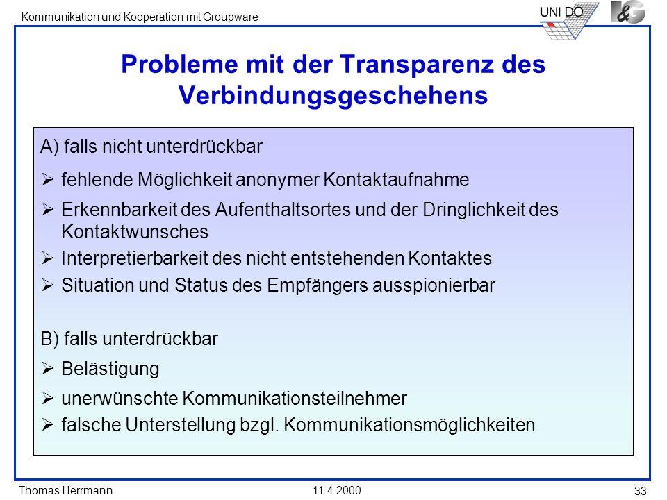 Thomas Herrmann Kommunikation und Kooperation mit Groupware 11.4.2000 33 Probleme mit der Transparenz des Verbindungsgeschehens A) falls nicht unterdr