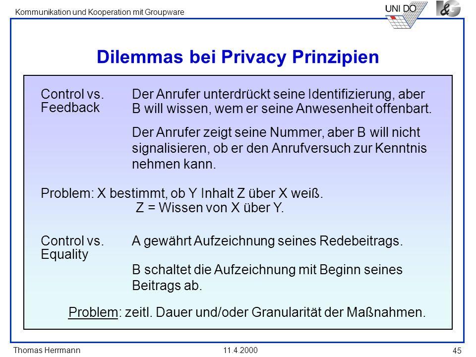 Thomas Herrmann Kommunikation und Kooperation mit Groupware 11.4.2000 45 Dilemmas bei Privacy Prinzipien Control vs. Feedback Der Anrufer unterdrückt