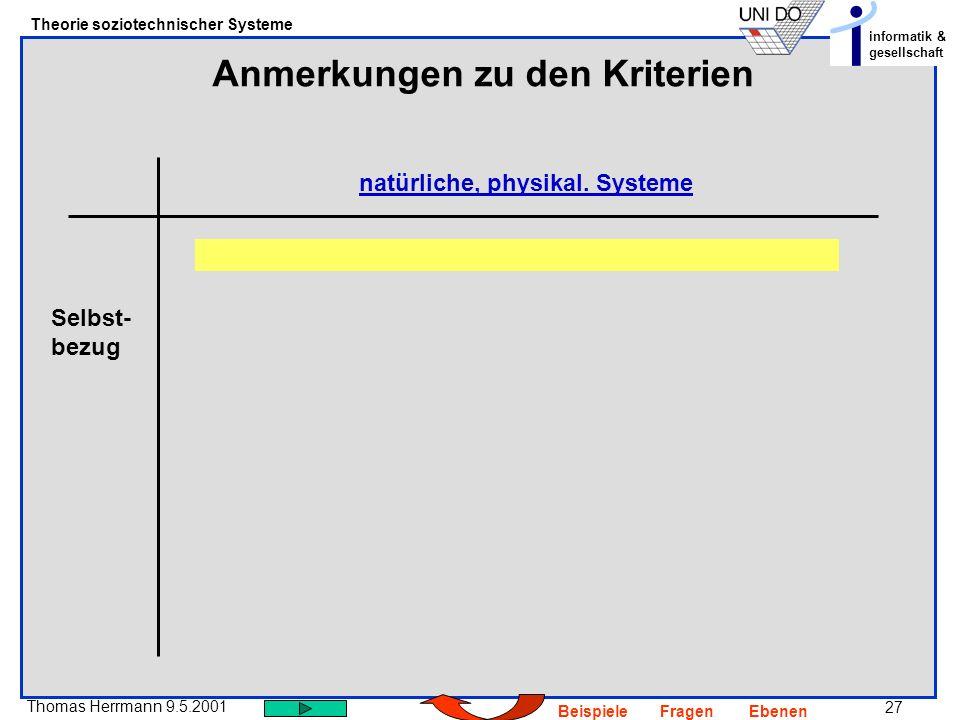 27 Thomas Herrmann 9.5.2001 Theorie soziotechnischer Systeme informatik & gesellschaft BeispieleFragenEbenen Anmerkungen zu den Kriterien natürliche, physikal.