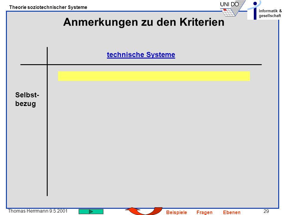 29 Thomas Herrmann 9.5.2001 Theorie soziotechnischer Systeme informatik & gesellschaft BeispieleFragenEbenen Anmerkungen zu den Kriterien technische Systeme Selbst- bezug