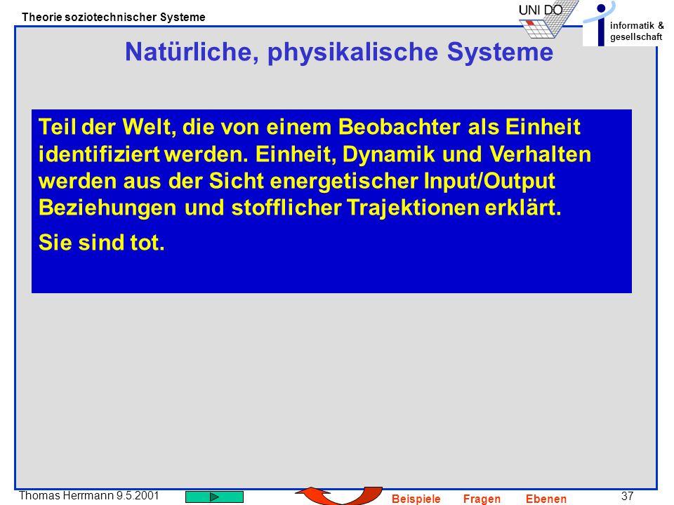 37 Thomas Herrmann 9.5.2001 Theorie soziotechnischer Systeme informatik & gesellschaft BeispieleFragenEbenen Natürliche, physikalische Systeme Teil der Welt, die von einem Beobachter als Einheit identifiziert werden.
