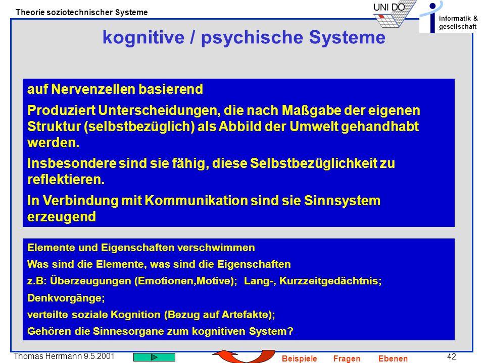 42 Thomas Herrmann 9.5.2001 Theorie soziotechnischer Systeme informatik & gesellschaft BeispieleFragenEbenen kognitive / psychische Systeme auf Nervenzellen basierend Produziert Unterscheidungen, die nach Maßgabe der eigenen Struktur (selbstbezüglich) als Abbild der Umwelt gehandhabt werden.