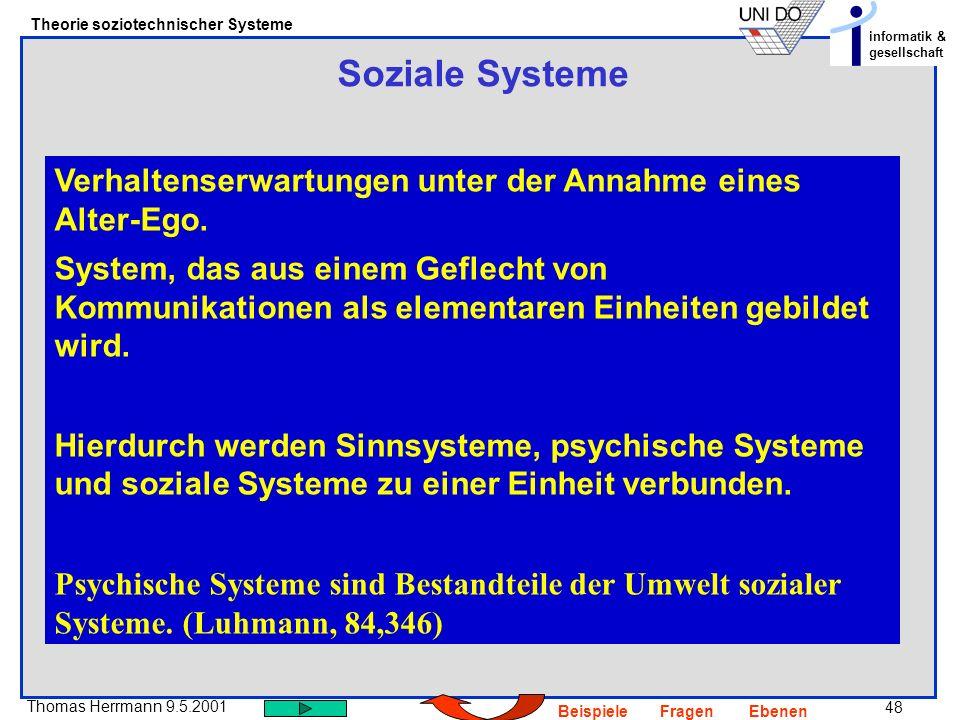 48 Thomas Herrmann 9.5.2001 Theorie soziotechnischer Systeme informatik & gesellschaft BeispieleFragenEbenen Soziale Systeme Verhaltenserwartungen unter der Annahme eines Alter-Ego.