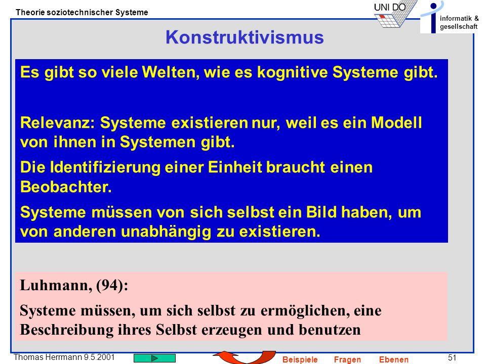 51 Thomas Herrmann 9.5.2001 Theorie soziotechnischer Systeme informatik & gesellschaft BeispieleFragenEbenen Konstruktivismus Es gibt so viele Welten, wie es kognitive Systeme gibt.