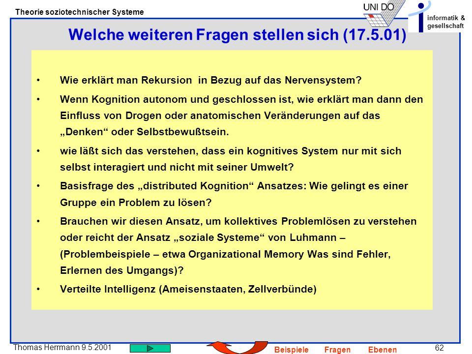 62 Thomas Herrmann 9.5.2001 Theorie soziotechnischer Systeme informatik & gesellschaft BeispieleFragenEbenen Wie erklärt man Rekursion in Bezug auf das Nervensystem.