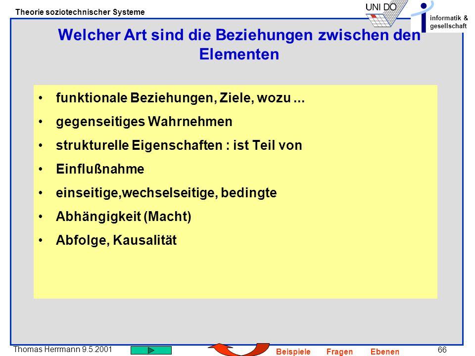 66 Thomas Herrmann 9.5.2001 Theorie soziotechnischer Systeme informatik & gesellschaft BeispieleFragenEbenen funktionale Beziehungen, Ziele, wozu...
