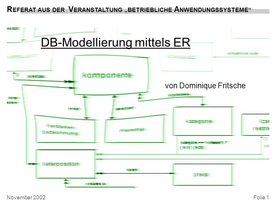 Folie 2 DB -MODELLIERUNG mittels ER Dominique Fritsche, 2002 Überblick Gliederung –der Weg zum ER-Modell: Objekte, Entitäten, Eigenschaften, Beziehungen –das ER-Modell am Beispiel der Übungsaufgabe PC- Verwaltung –der Weg zum RDBMS: Normalisierung