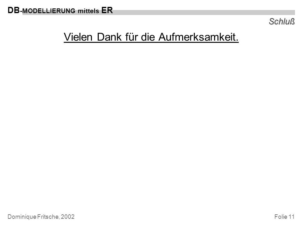 Folie 11 DB -MODELLIERUNG mittels ER Dominique Fritsche, 2002 Schluß Vielen Dank für die Aufmerksamkeit.