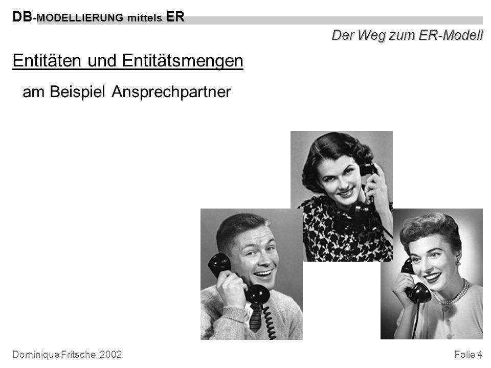 Folie 5 DB -MODELLIERUNG mittels ER Dominique Fritsche, 2002 Der Weg zum ER-Modell Eigenschaften einer Entität mit einzelnen Attributen am Beispiel Ansprechpartner –Name –Telefonnummer –E-Mail-Adresse –Geburtsdatum u.s.w.