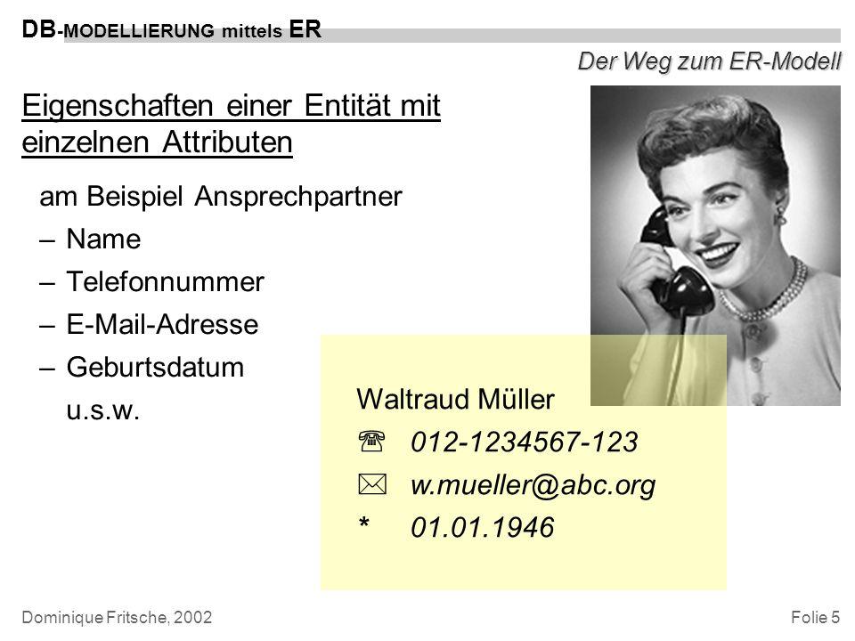 Folie 6 DB -MODELLIERUNG mittels ER Dominique Fritsche, 2002 Der Weg zum ER-Modell Relations: Beziehungen zwischen den Objekten –heißen –versandt von/am –kosten –befindet sich in/im u.s.w.