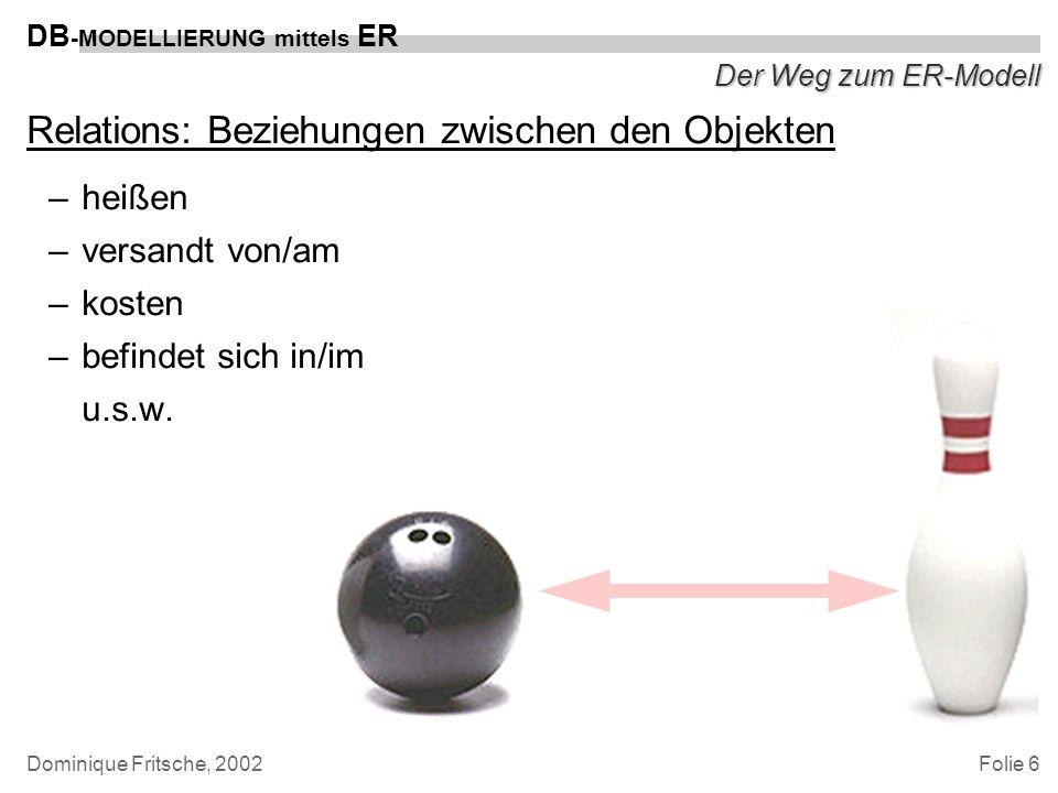 Folie 6 DB -MODELLIERUNG mittels ER Dominique Fritsche, 2002 Der Weg zum ER-Modell Relations: Beziehungen zwischen den Objekten –heißen –versandt von/