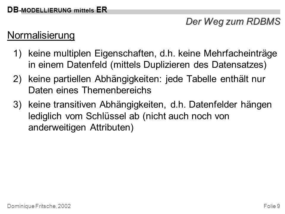 Folie 10 DB -MODELLIERUNG mittels ER Dominique Fritsche, 2002 Der Weg zum RDBMS Normalisierung vor dem Hintergrund von Datenredundanz und dem Risiko von Dateninkonsistenz Fragestellung: Wie weitgehend muß eine Normalisierung betrieben werden.