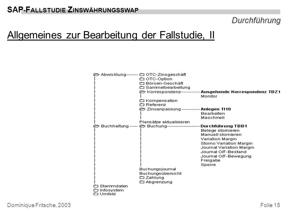Folie 15 SAP - F ALLSTUDIE Z INSWÄHRUNGSSWAP Dominique Fritsche, 2003 Durchführung Allgemeines zur Bearbeitung der Fallstudie, II