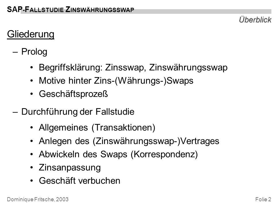 Folie 2 SAP - F ALLSTUDIE Z INSWÄHRUNGSSWAP Dominique Fritsche, 2003 Überblick Gliederung –Prolog Begriffsklärung: Zinsswap, Zinswährungsswap Motive h