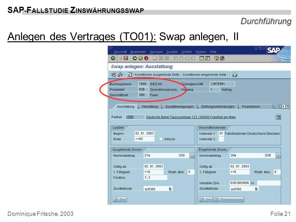 Folie 21 SAP - F ALLSTUDIE Z INSWÄHRUNGSSWAP Dominique Fritsche, 2003 Durchführung Anlegen des Vertrages (TO01): Swap anlegen, II