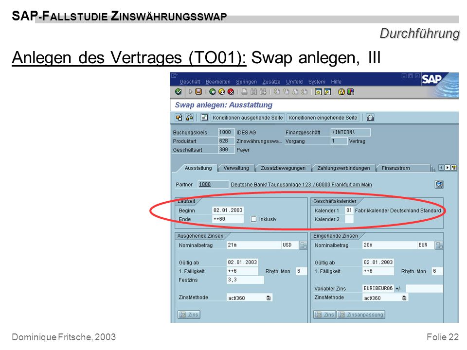 Folie 22 SAP - F ALLSTUDIE Z INSWÄHRUNGSSWAP Dominique Fritsche, 2003 Durchführung Anlegen des Vertrages (TO01): Swap anlegen, III