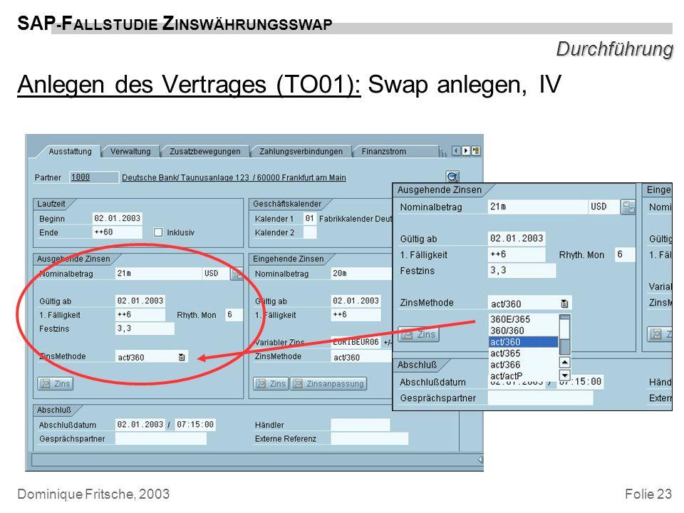 Folie 23 SAP - F ALLSTUDIE Z INSWÄHRUNGSSWAP Dominique Fritsche, 2003 Durchführung Anlegen des Vertrages (TO01): Swap anlegen, IV