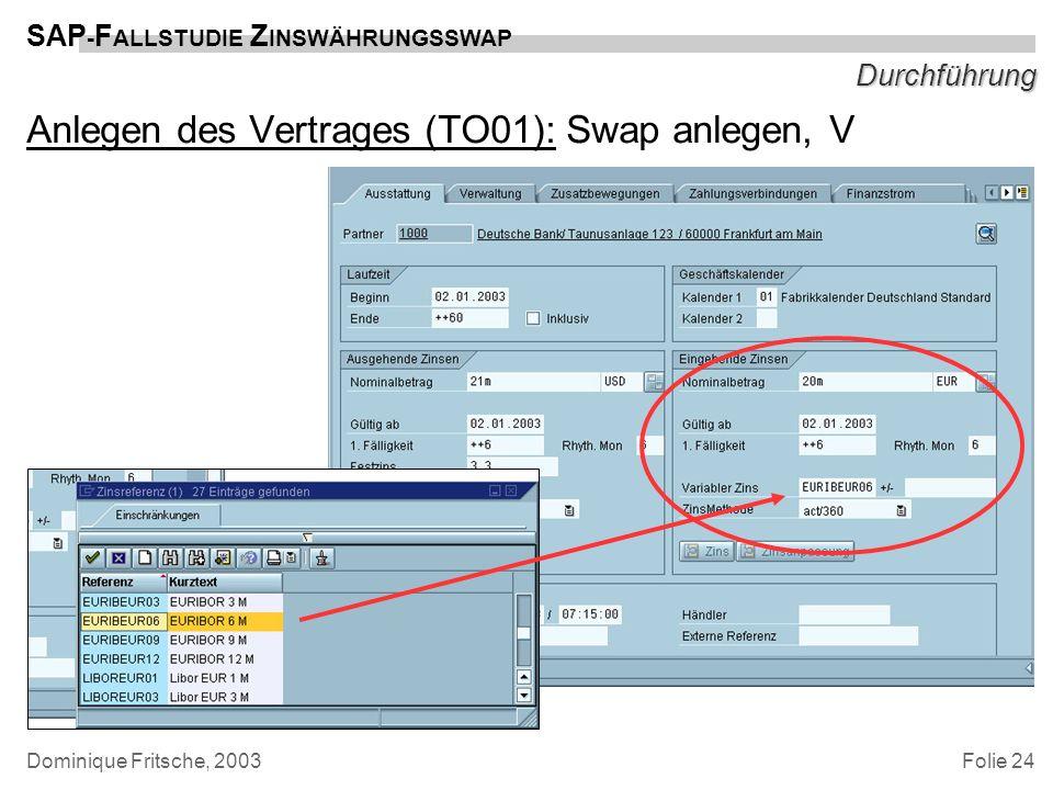 Folie 24 SAP - F ALLSTUDIE Z INSWÄHRUNGSSWAP Dominique Fritsche, 2003 Durchführung Anlegen des Vertrages (TO01): Swap anlegen, V