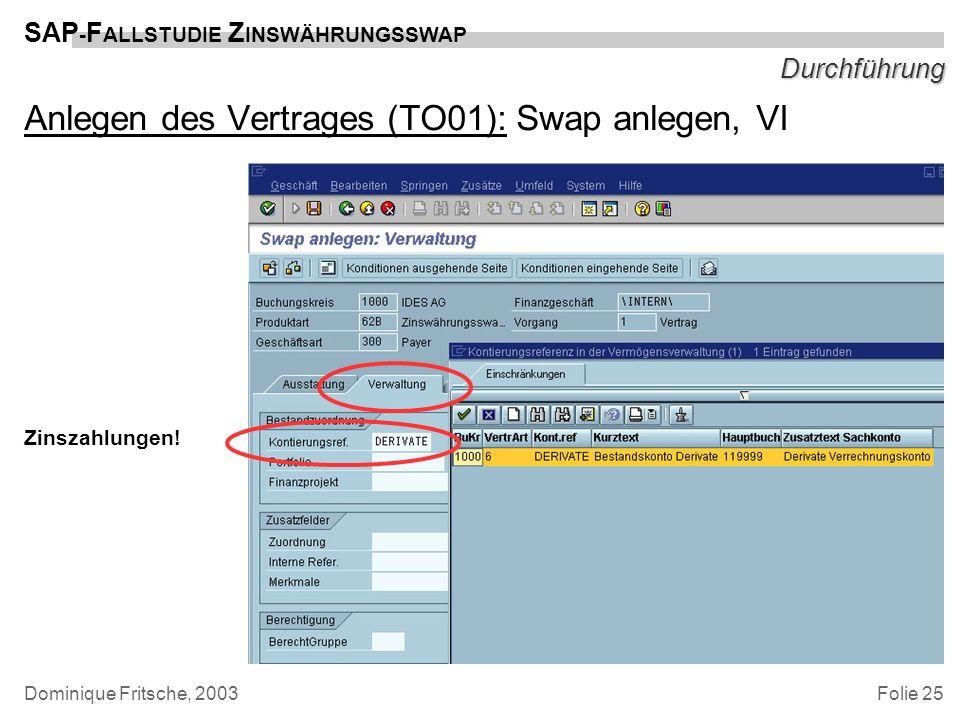 Folie 25 SAP - F ALLSTUDIE Z INSWÄHRUNGSSWAP Dominique Fritsche, 2003 Durchführung Anlegen des Vertrages (TO01): Swap anlegen, VI Zinszahlungen!