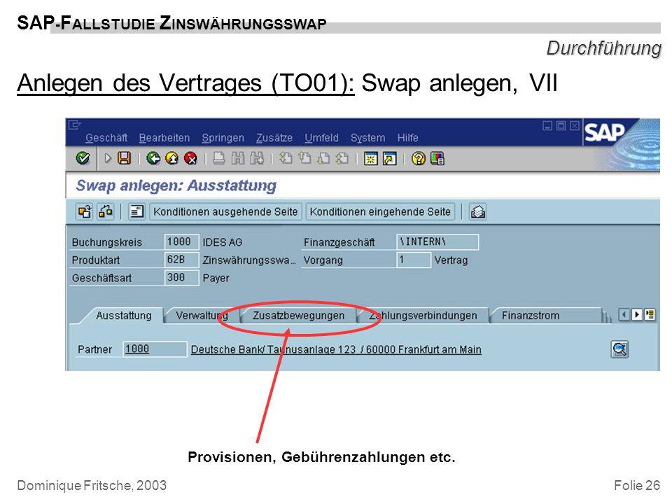 Folie 26 SAP - F ALLSTUDIE Z INSWÄHRUNGSSWAP Dominique Fritsche, 2003 Durchführung Anlegen des Vertrages (TO01): Swap anlegen, VII Provisionen, Gebühr