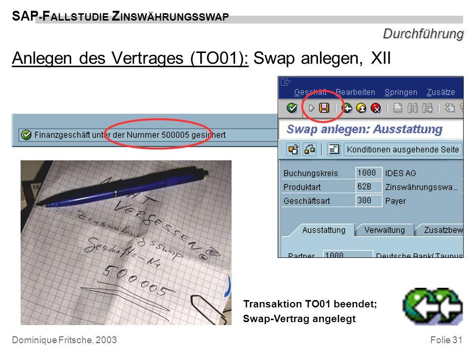 Folie 31 SAP - F ALLSTUDIE Z INSWÄHRUNGSSWAP Dominique Fritsche, 2003 Durchführung Anlegen des Vertrages (TO01): Swap anlegen, XII Transaktion TO01 be